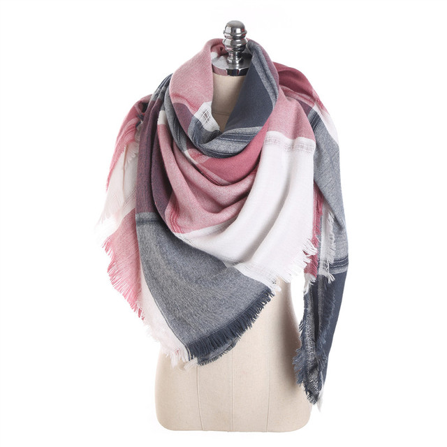 c9b9f3529 2017 Drop Fashion New Pattern Winter Women Square Scarf Luxury Fight Color Plaid  Cashmere Tassel Scarves Shawl and Wraps M1722