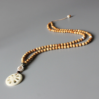 Wholesale Tibetan Buddhism 108mala Natural Wood Beads Necklace For Women Hand Carved Ivory White Tagua Nut