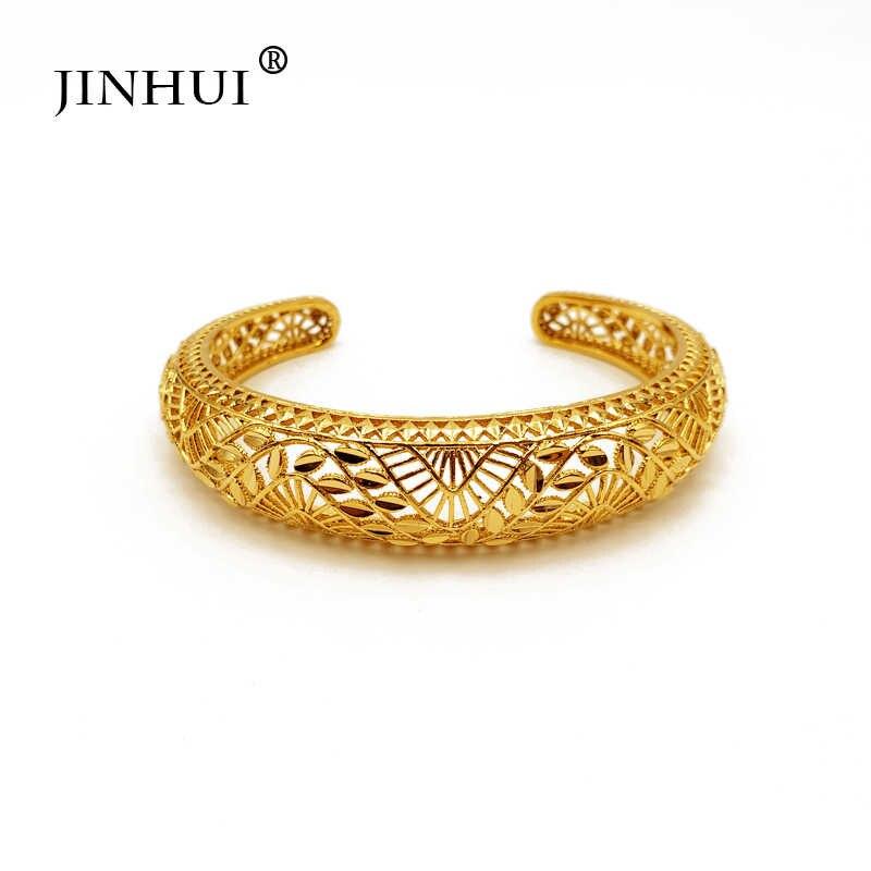 Jin הואי חדש אופנה ליידי יוקרה זהב צבע תכשיטי מתכוונן צמידי האתיופית אפריקאי נשים דובאי צמיד מסיבת חתונת מתנות