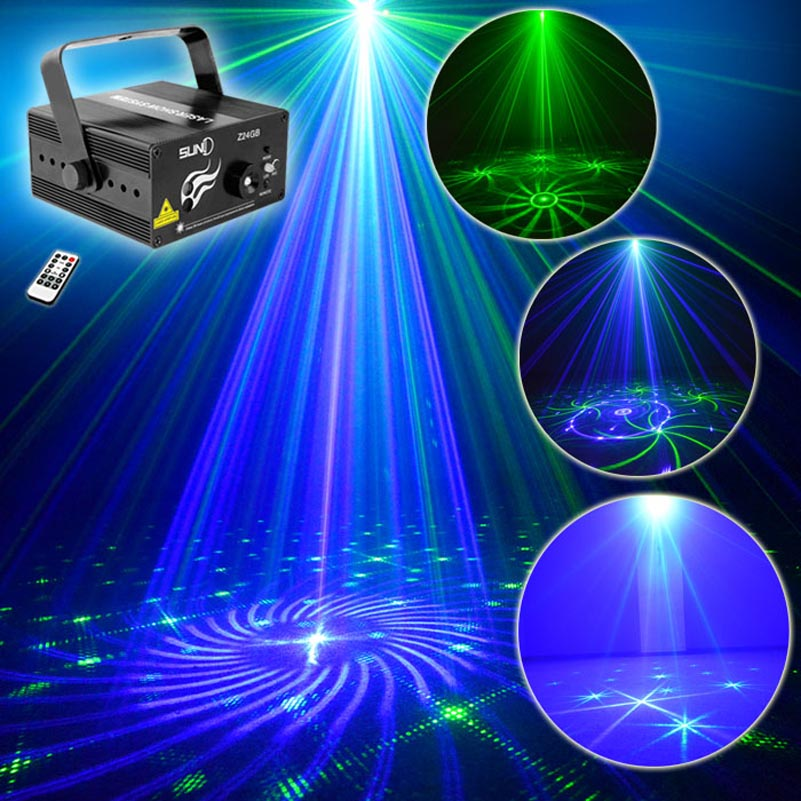 Disco Mini LED Laser Projector Show Lights GB 24 Patterns Remote Control Family Party KTV Bar Club Lazer Stage Effect Lighting 2016 new 3 lens 24 patterns gb mini laser light show blue led stage lighting effect home party dj disco light with remote