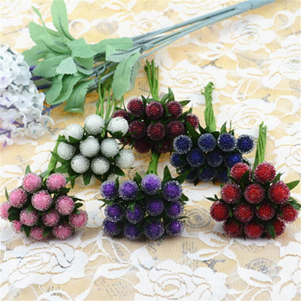 12pcs small berries artificial flower red cherry stamen pearlized wedding simulation glass pomegranate decorationchina