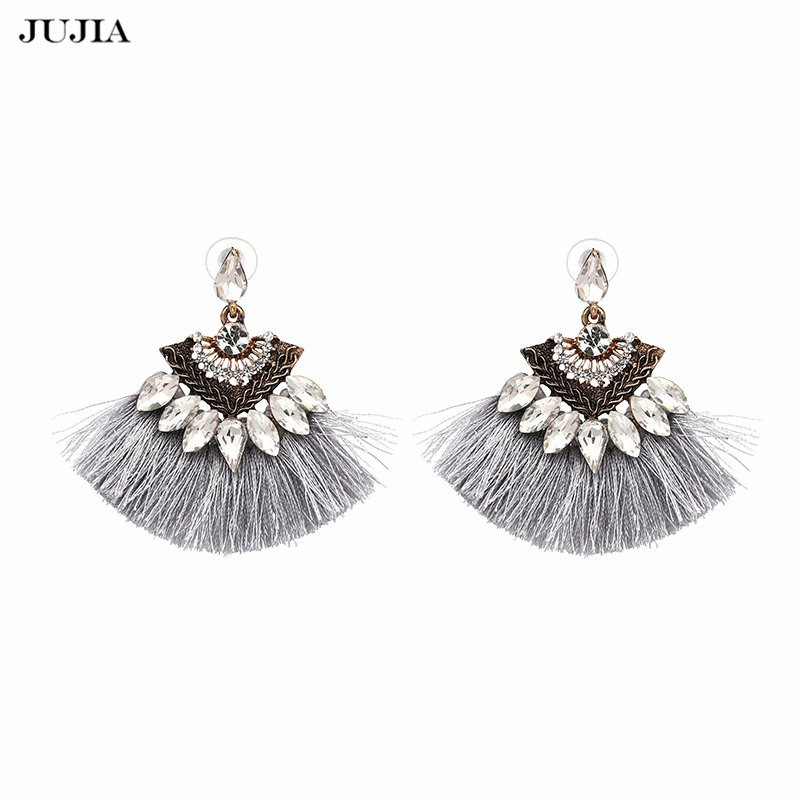 JUJIA Vintage drop Kolczyki Tassel Fashion marka Boho Maxi luksusowe Dangle Fringe Kolczyki dla Kobiet Biżuteria Ślubna