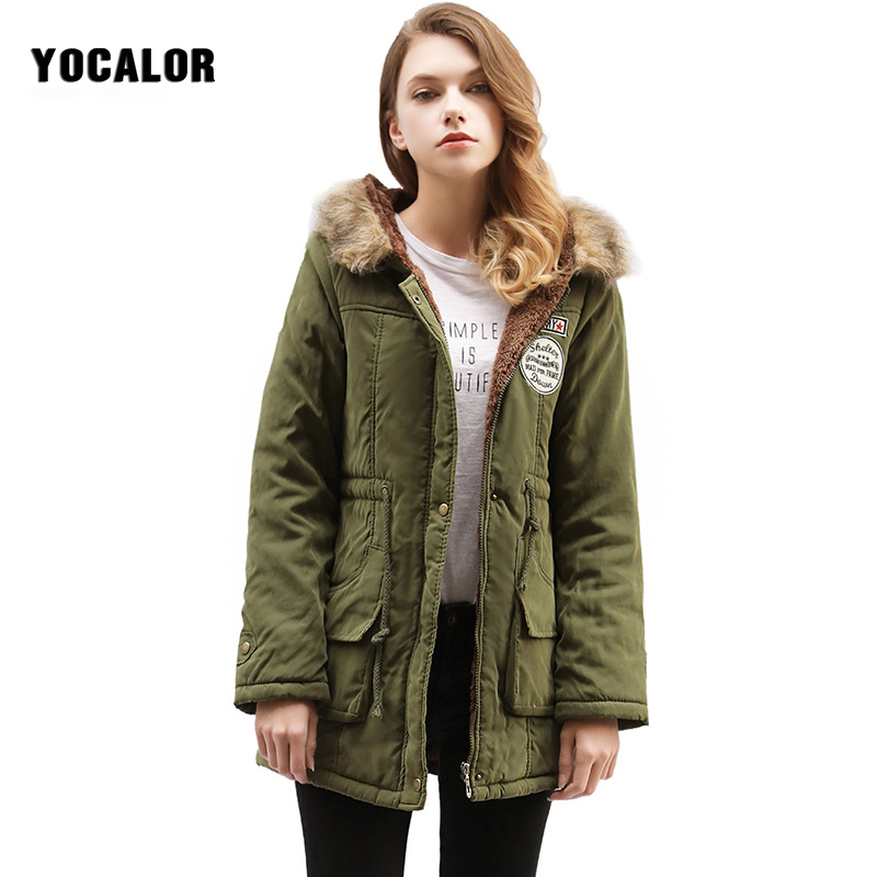 YOCALOR Brand New Winter Fashion Fur Collar Coat Female Parka Quilted Hooded Jacket Autumn Women Warming Long Outerwear Basic 2014 autumn and winter women s fashion sexy new luxury fur collar jacket leopard fur coat was thin waist