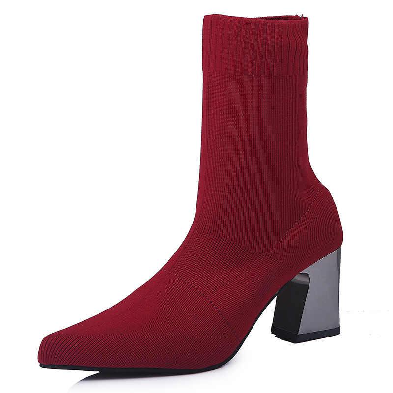 Женские ботинки «Мартенс» на высоком каблуке в европейском стиле, женские пикантные ботинки с острым носком для вечерние, вязаные шерстяные ботильоны «Челси»