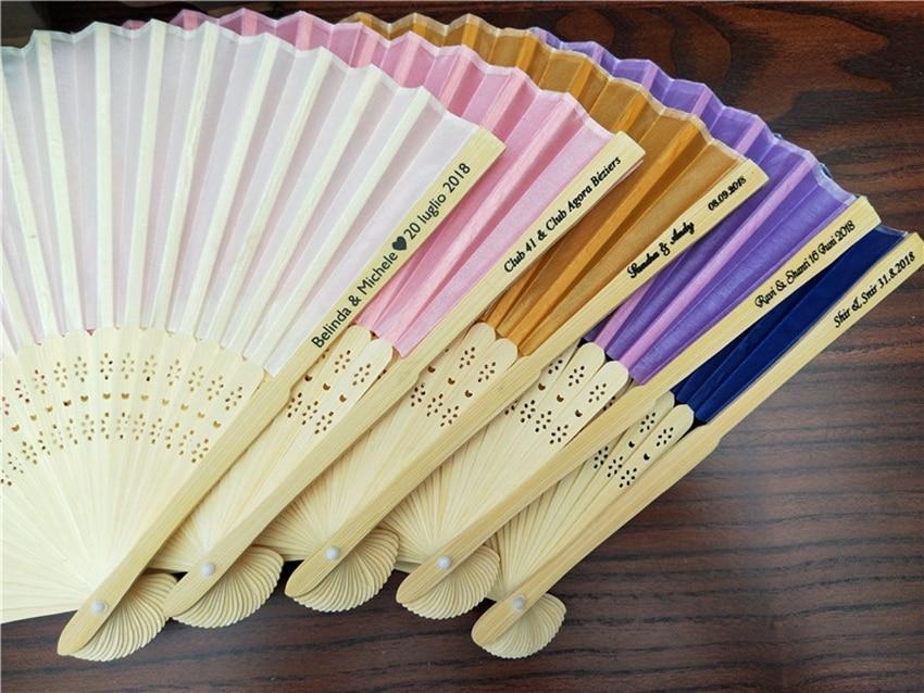 Image 5 - 50 pçs/lote Personalizado Ventilador de Dobramento Personalizado  Nome Da Noiva