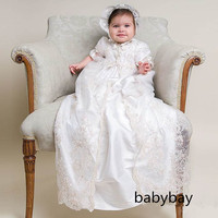 White Lace Short Sleeves Long Christening Gown Baptism Robe for baby girl boys with bonnet