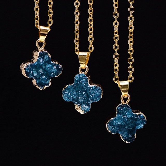 Gold Plated Four Leaf Clover  Pendant Necklaces For Women