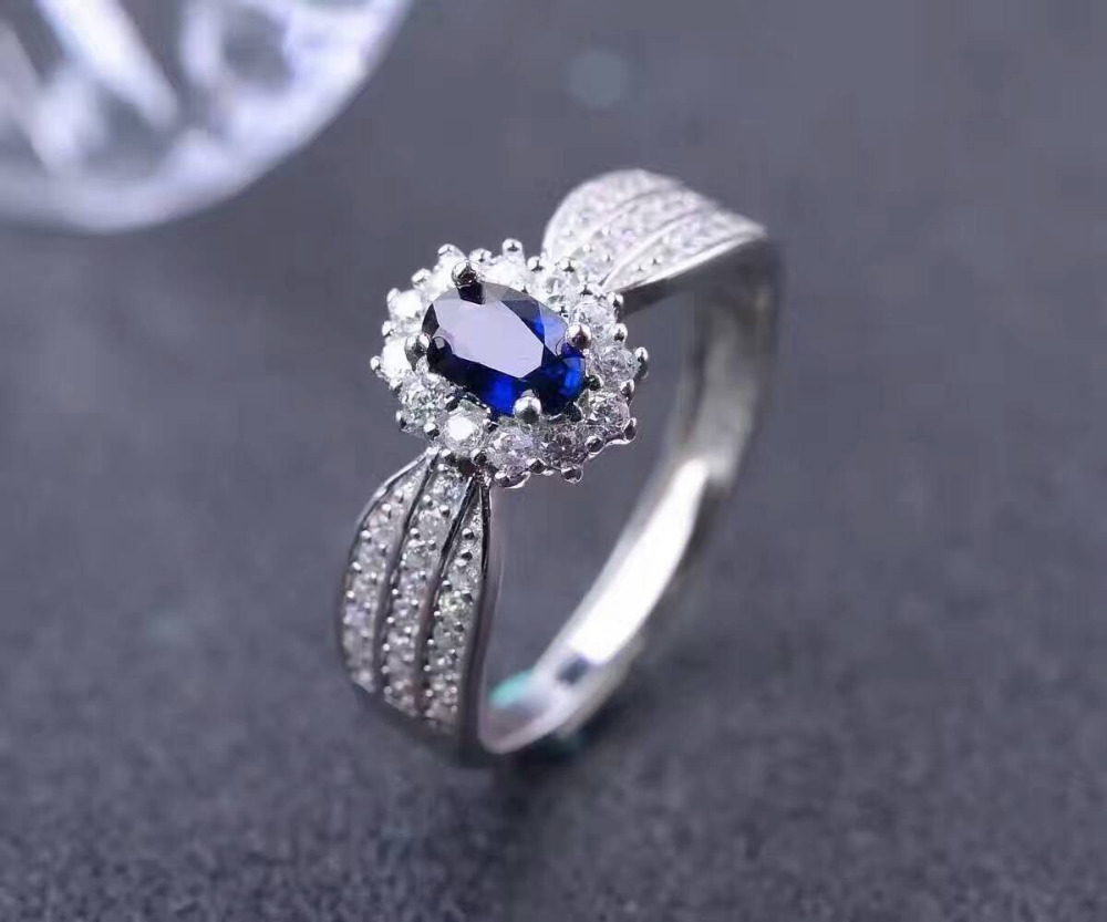 Natural dark blue sapphire gem Ring Natural gemstone Ring 925 sterling silver trendy Diana round women anniversary gift Jewelry