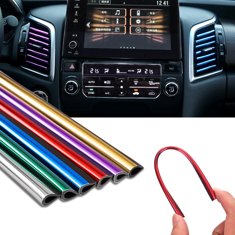 Car Styling U Type DIY Car Interior Air Conditioner Outlet Vent Grille Chrome Decoration Strip Automobiles Stickers Accessories