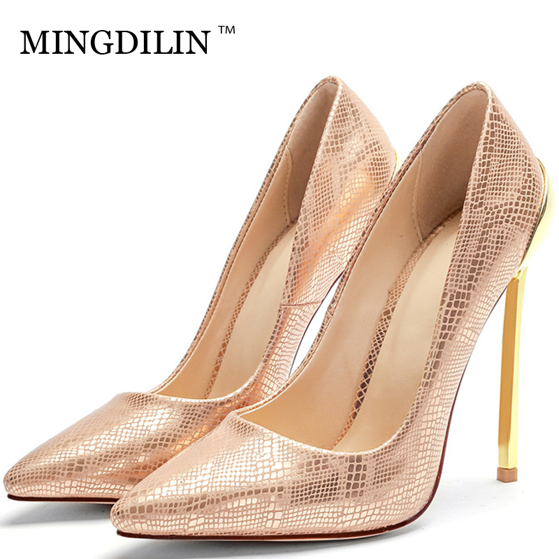 MINGDILIN Gold Women's High Heels Shoes Sexy Wedding Party Woman Golden Heel Shoes Plus Size 33 43 Pointed Toe Pumps Stiletto цена