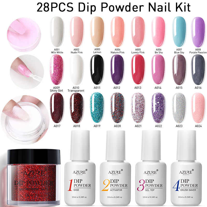 Azure Beauty 28 unids/lote juego de uñas en polvo degradado Color Dip polvo brillo uñas Kits Base superior Gel activador abrigo uñas
