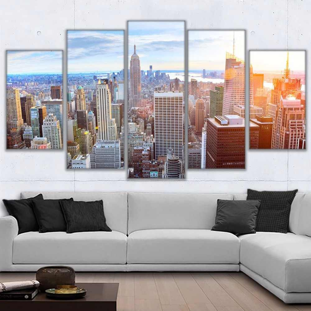 New York City Life Abstract 5 piece HD Art Poster Wall Home Decor Canvas Print