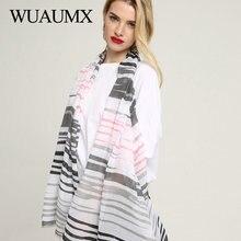 Wuaumx Spring Autumn Scarf Women Simple Striped Pattern Wraps Ladies Scarfs Long Scarves Shawl Soft foulard femme Hijab echarpe цена в Москве и Питере