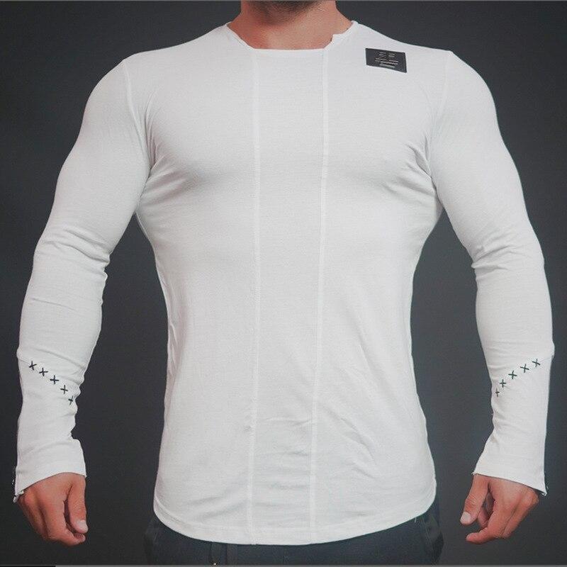 Eehcm брендовая футболка с длинными рукавами Для мужчин хлопок Однотонная одежда Повседневное Объединившись чистая ткань Стиль ...