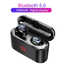 True Bluetooth 5.0 Earphone HBQ TWS Wireless Headphons Sport Handsfree Earbuds 3D Stereo Gaming Headset With Mic Charging Box(China)