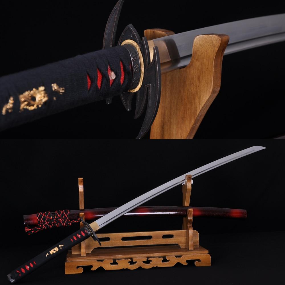Ručně vyráběné plné tang Japonský samurajský netopýr Katana Japonsko Kendo Nůž Sharp Blade 1060 Vysoce uhlíková ocel Katanas může řezat stromy