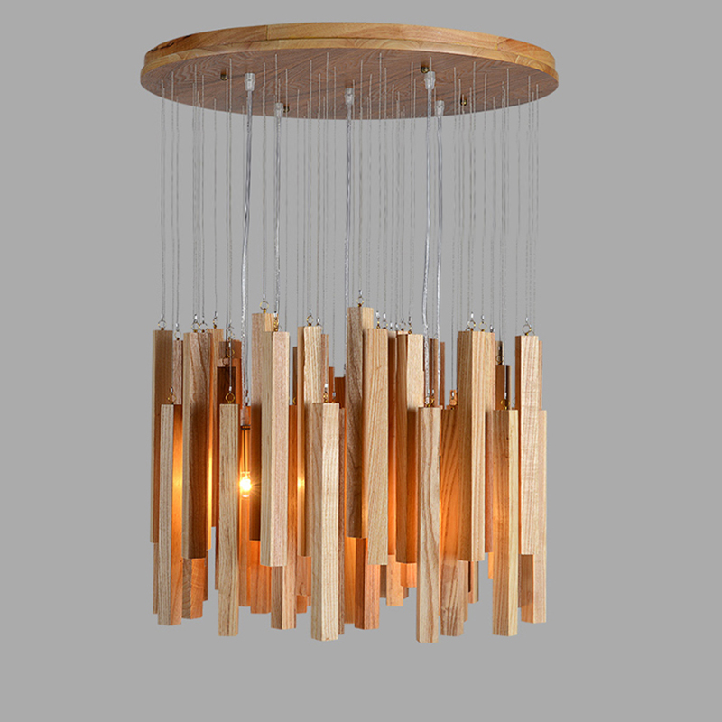 Solid wood modern pendant light Chinese Nordic creative minimalist living room dining wood ball wooden pendant lamp nordic creative personality dining room pendant light rectangular post modern studio light office light solid wood led lamp