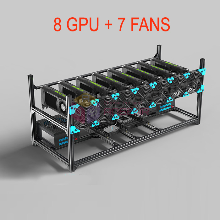 US $133 98  8 GPU Included 7 Fans Aluminum Stackable ETH Miner Frame Open  Air Miner Mining Case Computer Rig Bitcon Kit Unassembled Ethereum-in Tool