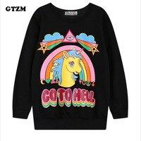 GTZM 2017 패션 여성 티셔츠 긴 소매 디지털 인쇄 느슨한 단락 무지개 말 만화 유니콘 남녀 의류