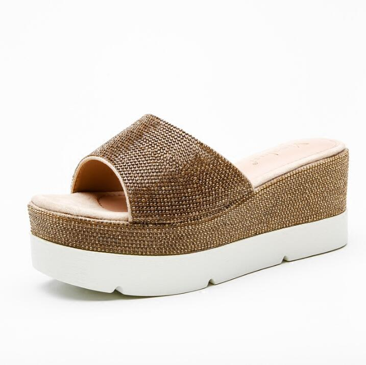 Summer Newest Wedge Sandal Women Crystal Casual High Heel Sandal Thick Heels Shoes Golden Concise Suitable Sandal new summer sandal high heel women thick bottom female sandals casual shoes fashion leather sandal comfortable sweet cute woman