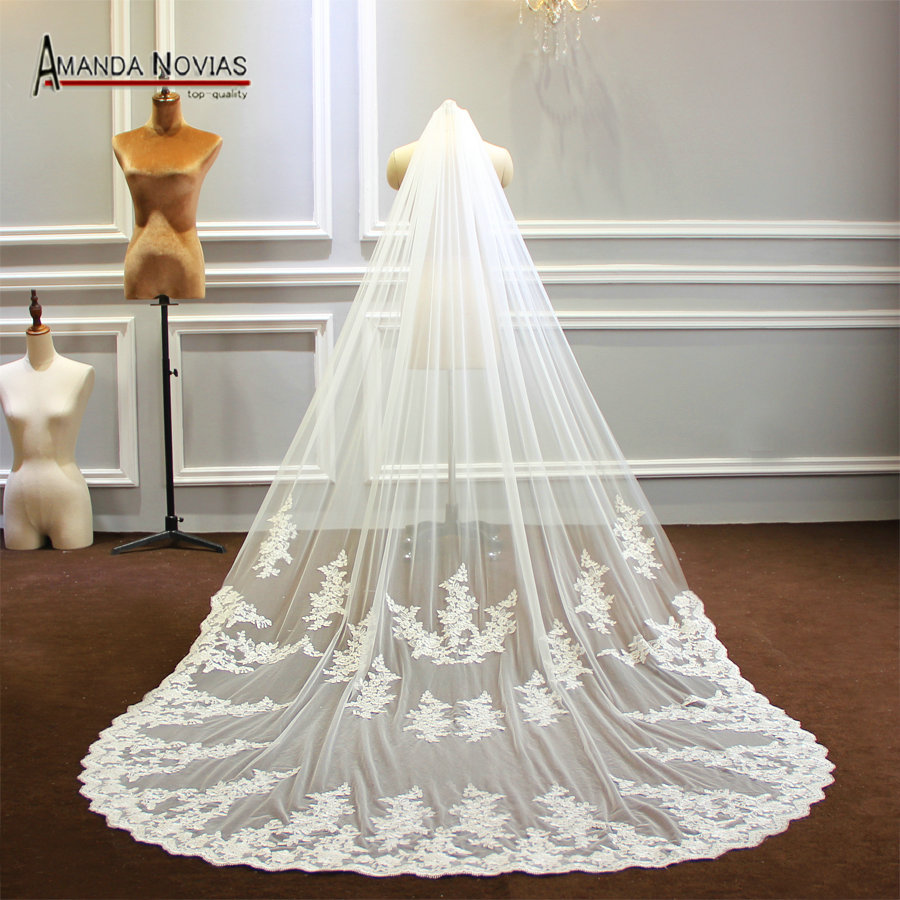 One Layer Lace Veil With Comb 3M Width And 3M Long 2019 Long Veil New