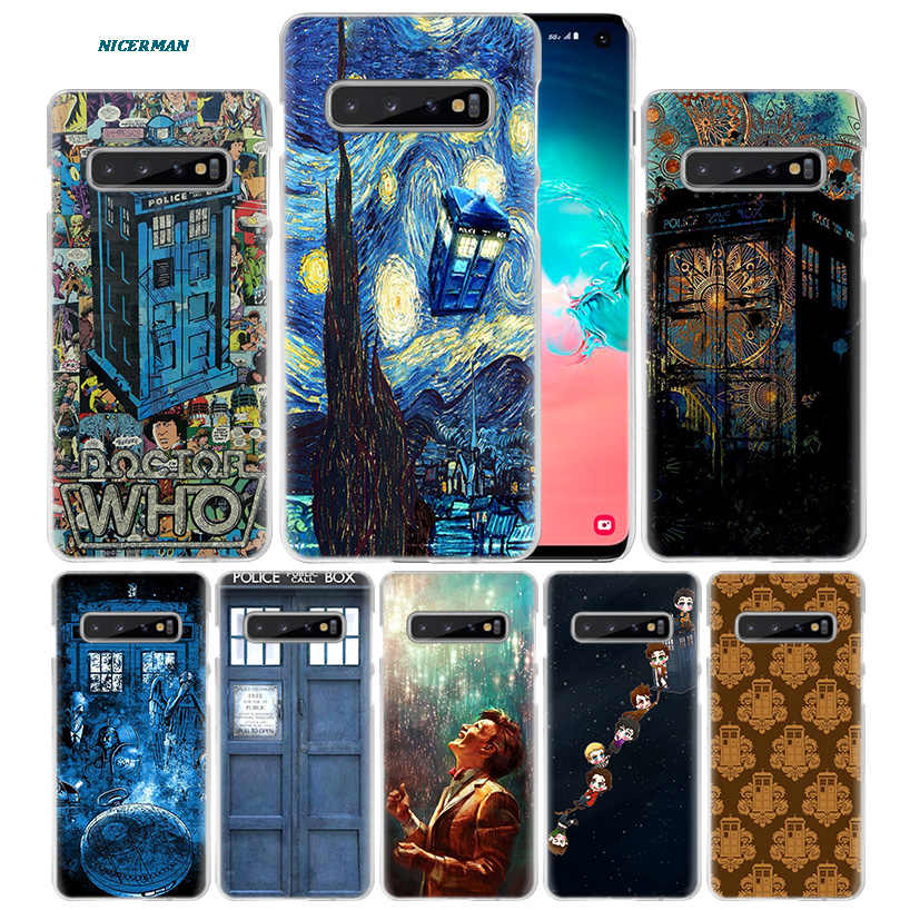 Box Doctor Who van gogh Case for Samsung Galaxy S10 5G S10e S9 S8 M30 M20 M10 J4 J6 Plus J8 2018 Note 8 9 Clear Hard PC Phone Co