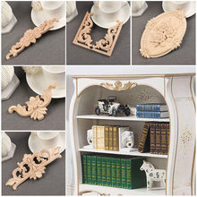 bb482c8b18a3 1PC Floral Wood Carved Corner Woodcarving Decal DIY Applique Sculptures  Home Furniture Cabinet Decoration 2019 Hot Sale