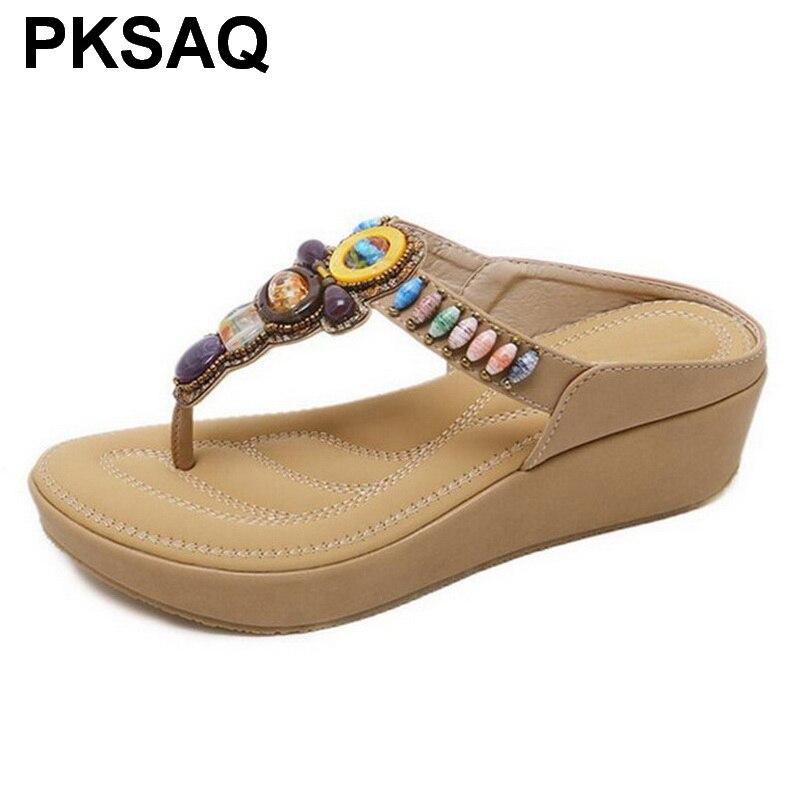 Women High Heels Summer Shoes Wedge Flip Flops Bohemian Beaded Platform Sandals Woman Shoes Sandalias