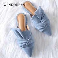 Women Sandals Summer Female Flat Shoes Flock Bowtie Slippers Ladies Fashion Low Heels Mules Elegant Blue sandales Femme 2020