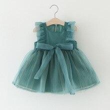 Summer Baby Girls Princess Party Ruffles Bow Sleeveless Ball Gown Dress Kids Sleeveless Organza Sundress roupas de bebe