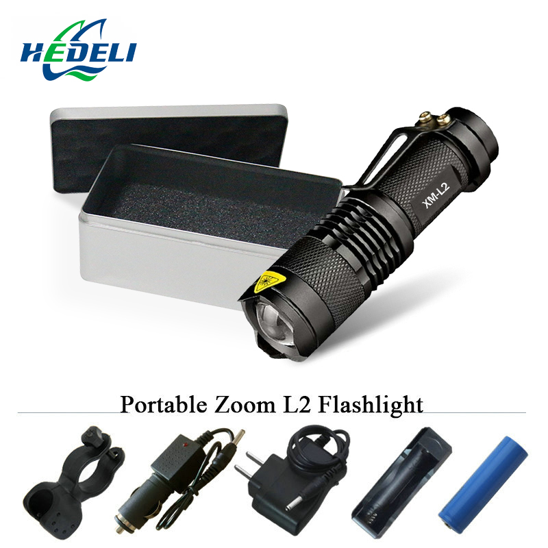 LED Flashlight Mini Zoom LED Lantern CREE T6 3800lm Waterproof 5 Mode Zoom 18650 Rechargeable Battery Portable Torch Flashlight