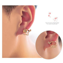 E023 New Arrival Cute Pink Baby Elephant Stud Earrings For Women Fashion Jewelry Lovely Animal Stud Earrings Free Ship Wholesale(China)