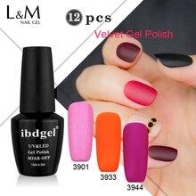 Factory Wholesale 12 Pcs Velvet Matte Gel ibdgel Brand Gel Need Base Coat UV Nails Polish Set Nails Gel Professional Lacquer