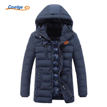 Covrlge 2017 Mens Winter Parkas Thick Hooded Men Padded Coat Parka Solid Men's Quilted Jacket Warm Overcoats Puffer Park MWM005
