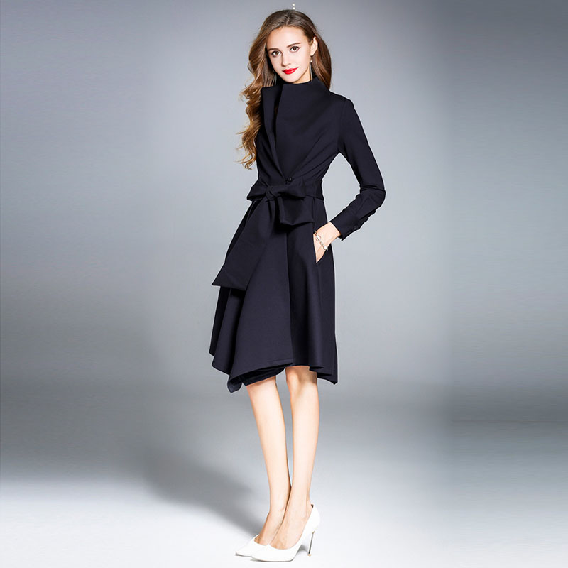 2018 Φθινόπωρο Φθινόπωρο Φορέματα - Γυναικείος ρουχισμός - Φωτογραφία 2