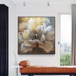 Image 3 - لوحة زيتية تجريدية مرسومة يدويًا لعام 100% على قماش كتان لتزيين صور بدون إطار لغرفة المعيشة هدايا ديكور منزلي