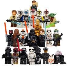 24pcs lot Star Wars The Last Jedi Yoda Obi Wan Darth Vader Building Block Compatible with