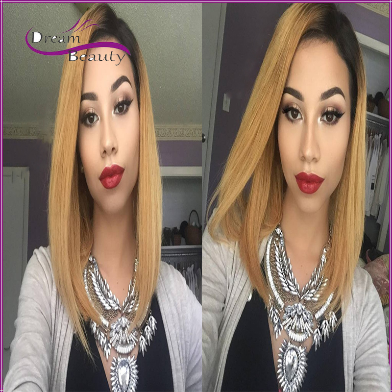 Ombre blonde Human hair Bob wigs Full Lace Human Hair Wigs Glueless short Lace Front Human Hair Wigs two tone Full Lace Wigs