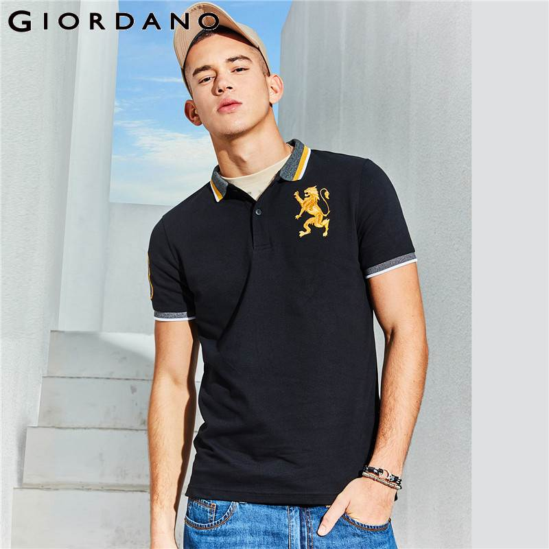 Giordano Men   Polo   Shirt Men Embroidered 3D Lion Multi Color   Polo   Men Embroidery Contrast Color   Polo   Fashion Camisa   Polo