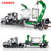 1202pcs City Engineering Mark Container Big Truck Vehicles Car Building Blocks Compatible Legoing Technic Bricks Children Toys