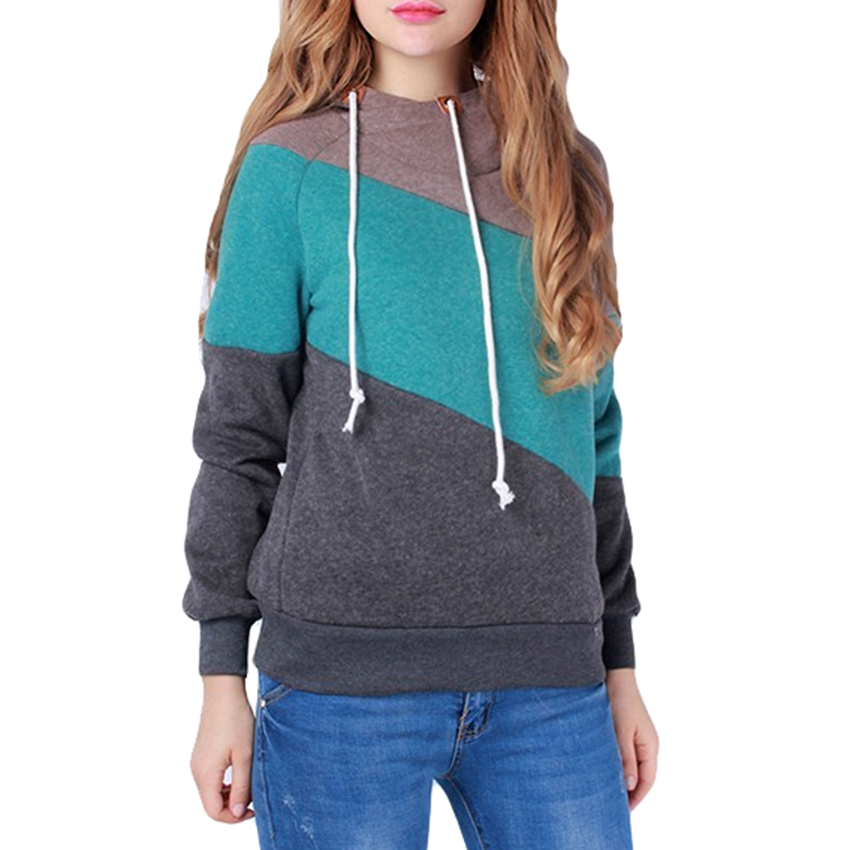 Warm Hoodie Pullovers Long Sleeve Maternity Sweatshirts Fashion Contrast Color Tops 2 Color Size S-L Available