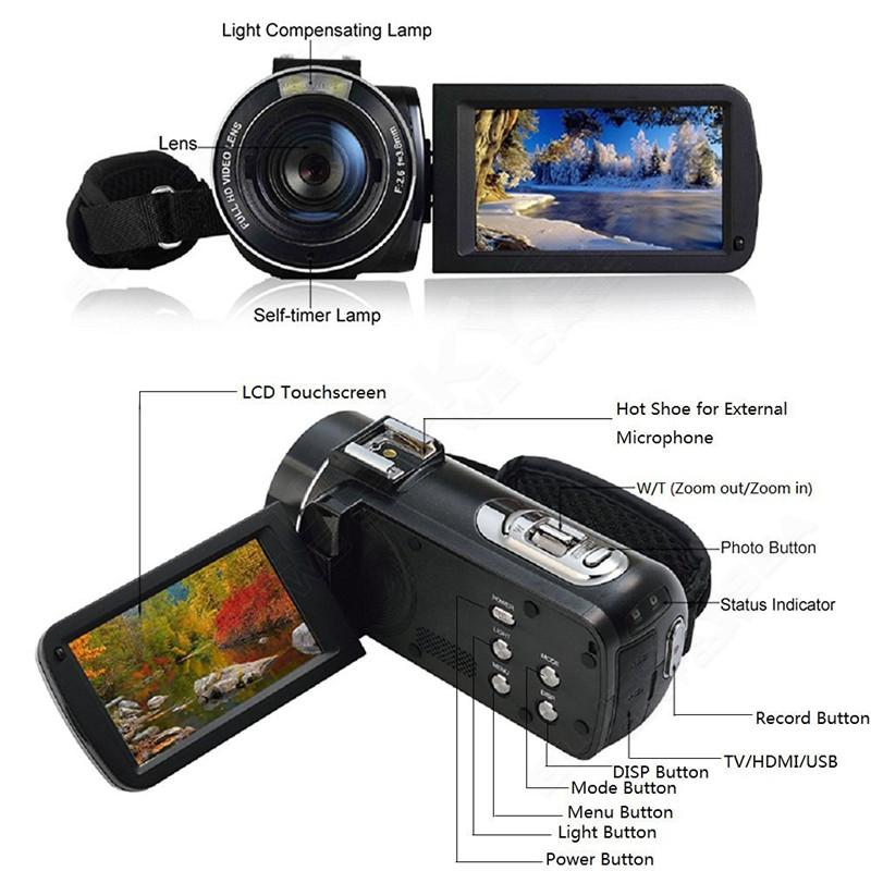 """ORDRO HDV-Z Digital Video Camera Camcorder 3.0"""" Touch Screen 1080P Full HD 16X Zoom 24MP Face Detection LED Fill-in Light DV 15"""