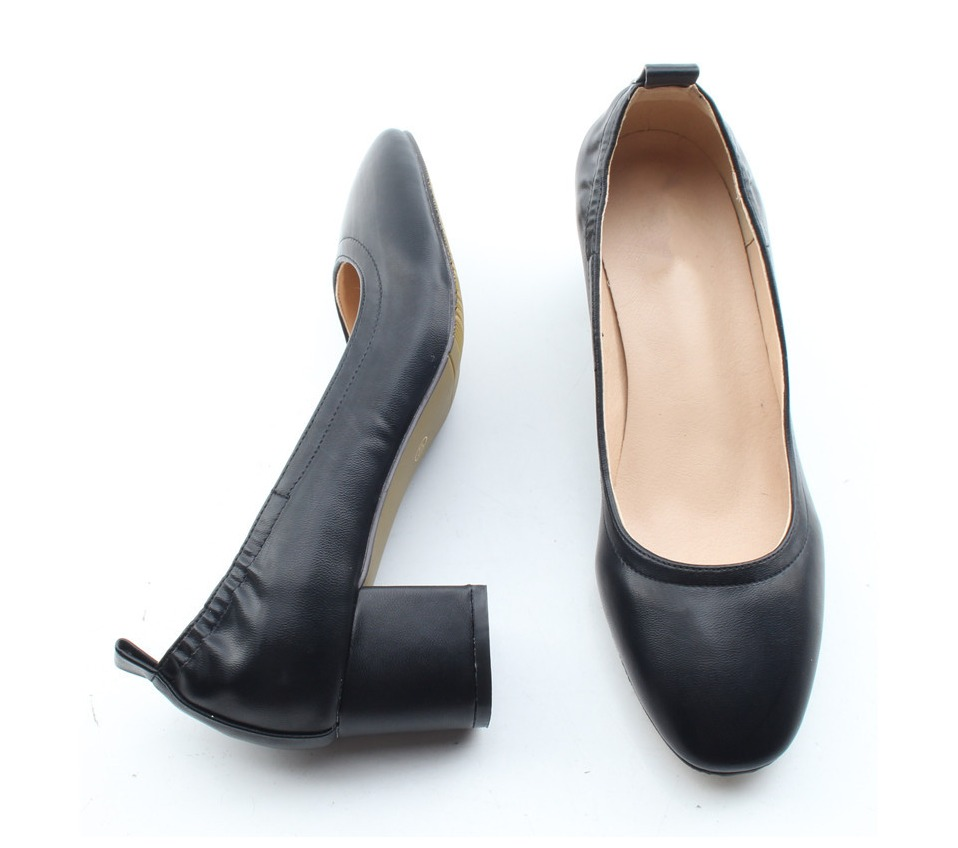 Shoes Women Genuine Leather Fashion Office and Career Rounded Toe 2-inch Block Heel Fashion Office Lady Pumps Size 34-41, K-307 47