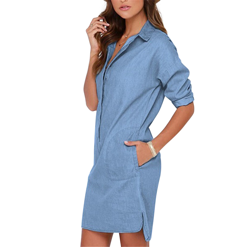 Detail Feedback Questions about Summer Irregular shirt dress Fashion Women  Denim Shirt Dress Long Sleeve Sexy Mini Dress Casual Loose Jean Dresses  LJ1286M ... d01aa42a0376