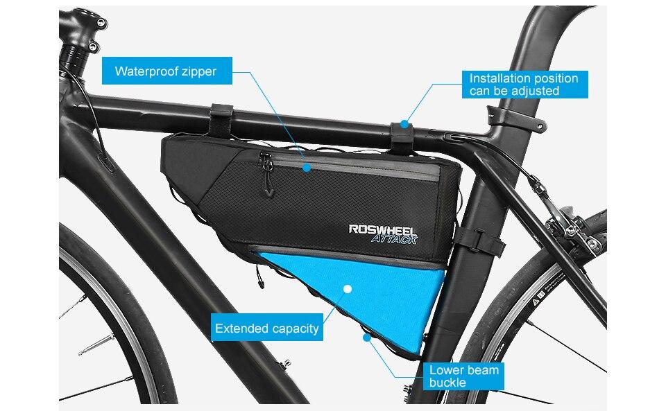 Bike Cycling Frame Bag Triangle Pannier 4L Waterproof Bag Ajust 3L-4L Roswheel