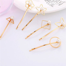 1 Pcs Fashion Women Alloy Pearl Hair Clip Simple Korean Snap Barrettes Hairpin Stick Ladies Girls Styling Accessories