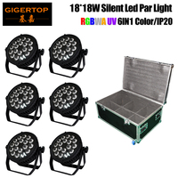 6in1 Road Case Packing 18x18W RBGAW Violet 6 Color Silent Stage Led Par Cans 4 Button LCD Display No Noise Support Hanging Clamp