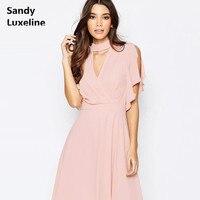 Kadınlar yaz elbise seksi v boyun pembe elbiseler moda kelebek kollu kadın elbiseler vestido de dresses artı boyutu ucuz satış 055