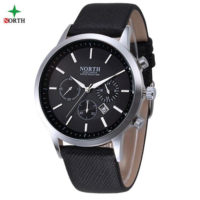 NORTH Men Watch Luxury Brand Fashion Male Wristwatch  30M Waterproof Sport Watch Casual Genuine Leather Quartz Business Watches