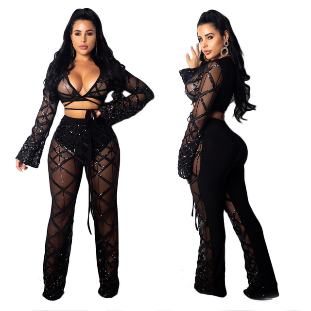 0d35049d5e Sexy Black See Through Mesh Matching Set Long Sleeve V-neck crop top and  Wide Leg Pant Sets Party Two Pieces Outfits Banquet